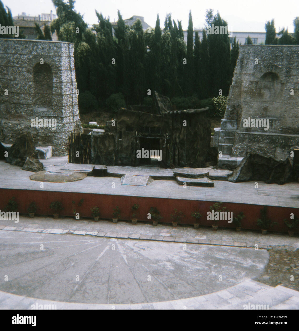 This 1970 photo shows the stage at the  ancient Roman theater in Benevento (ancient Beneventum) in southern Italy - Stock Image