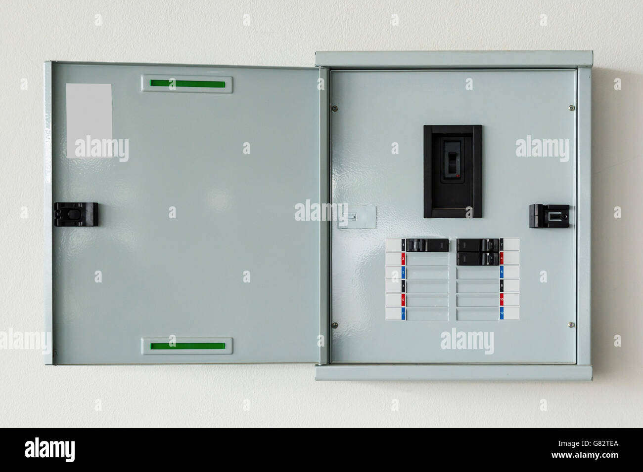 close up control box open on wall at home - Stock Image