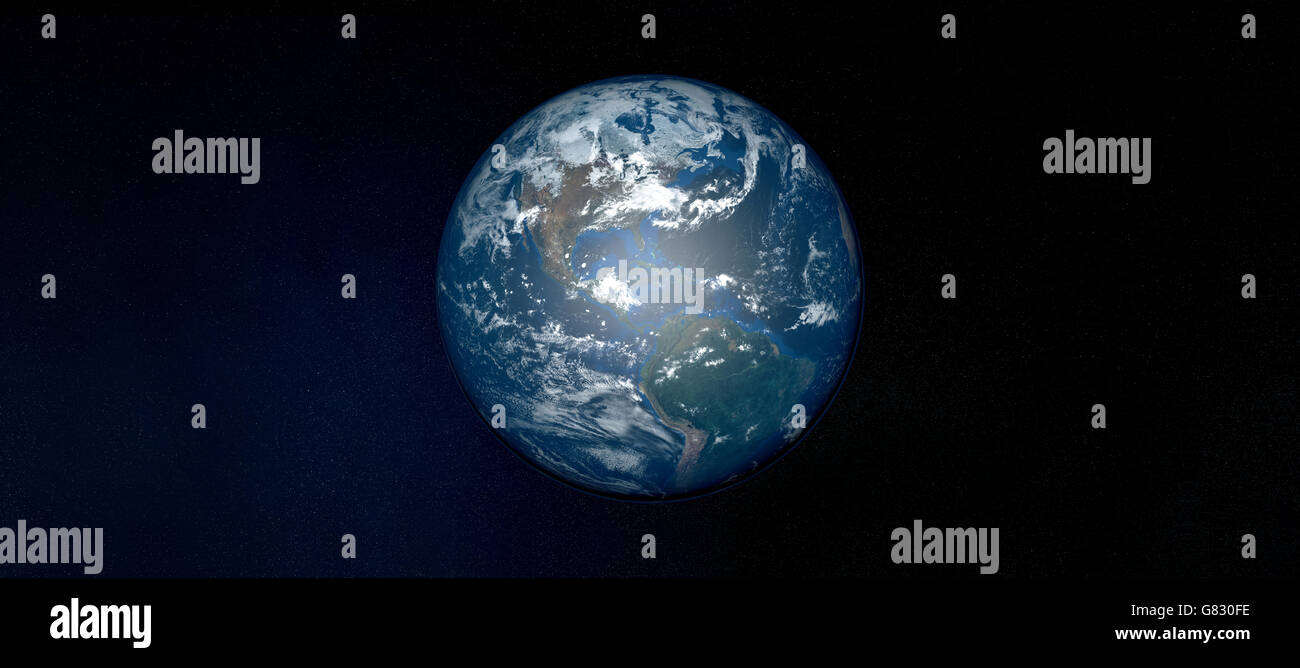 Extremely detailed image of planet Earth in space - Stock Image