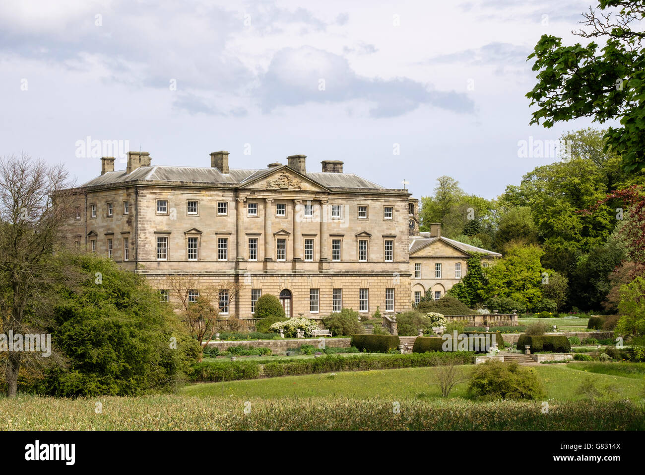 18th century Howick Hall (1782) Gardens and Arboretum is ancestral home of the Earls Grey near Alnwick Northumberland - Stock Image