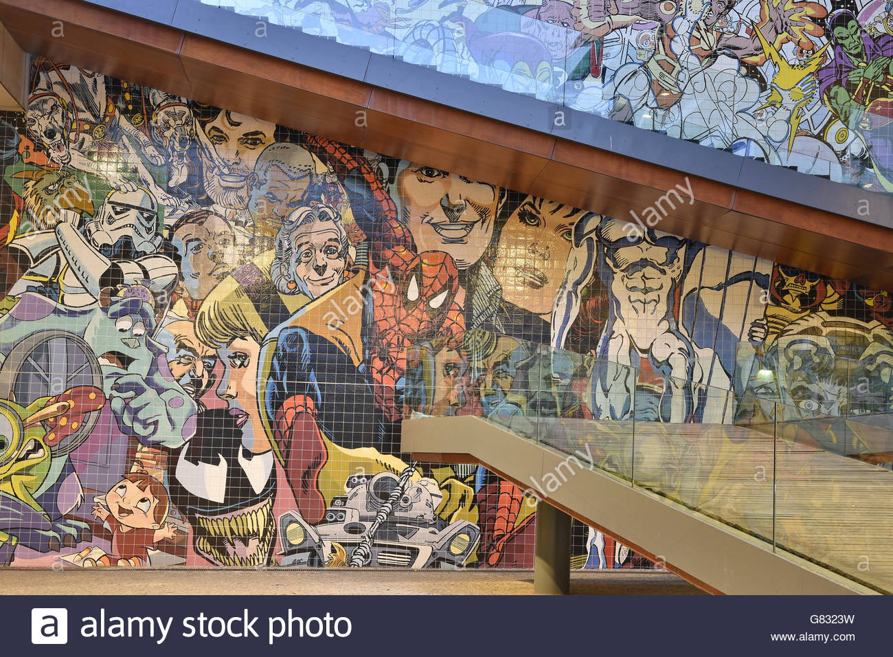 Comics characters illustrated tiled wall outside ''VIP Arts Hotel'' located in Parque das Nações - Stock Image