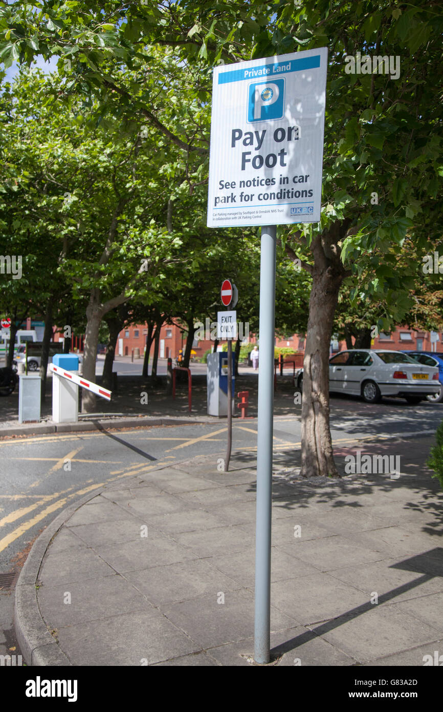 NHS Trust Southport and Formby Hospital, information and signs for hospital parking charges, UK. - Stock Image