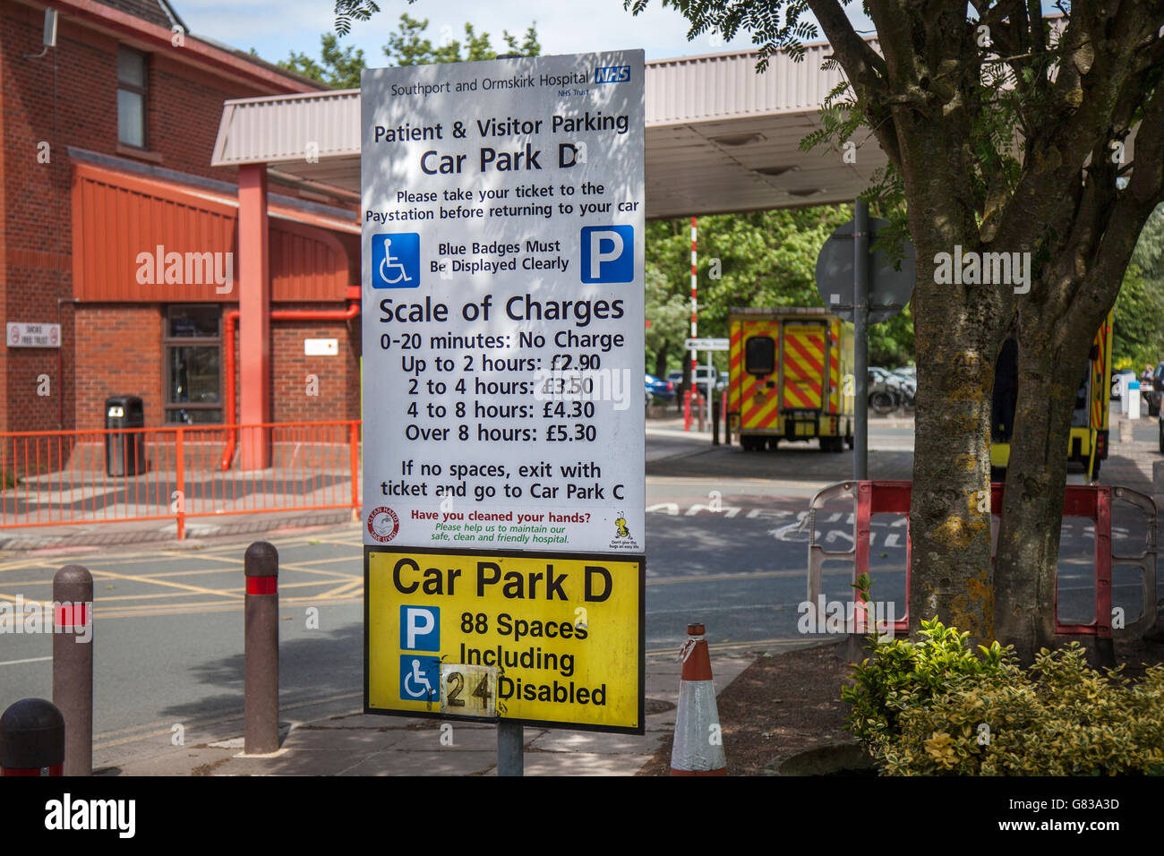 Three pounds after 20 minutes visitor parking charges at the NHS Trust Southport and Formby Hospital, information - Stock Image