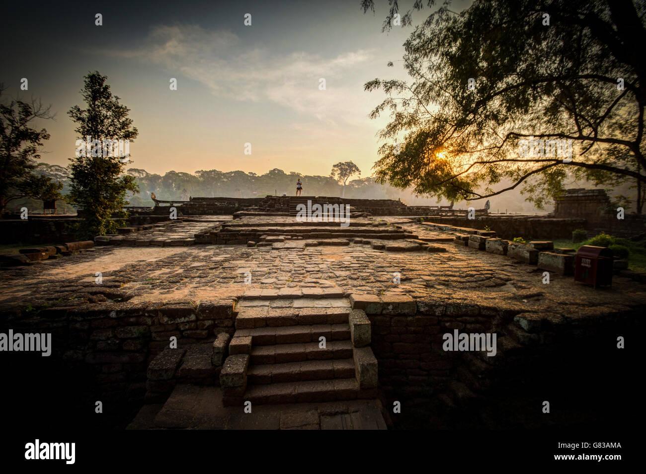 Angkor Wat temple, Siem Reap, Cambodia Hinduism Khmer culture buildings - Stock Image