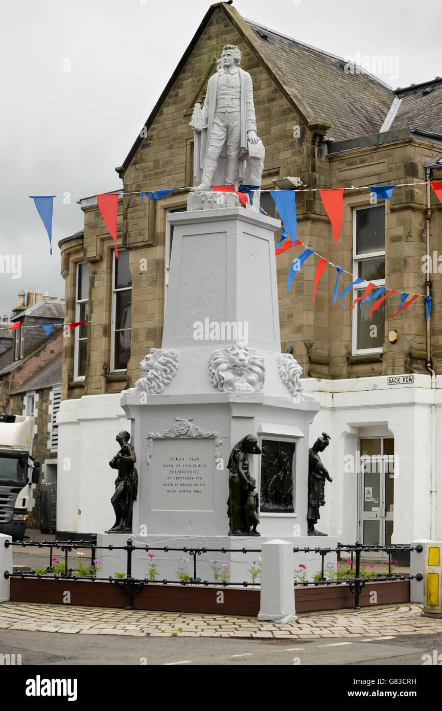 Monument in Selkirk which commemorates  the life and works of Mungo Park - Stock Image