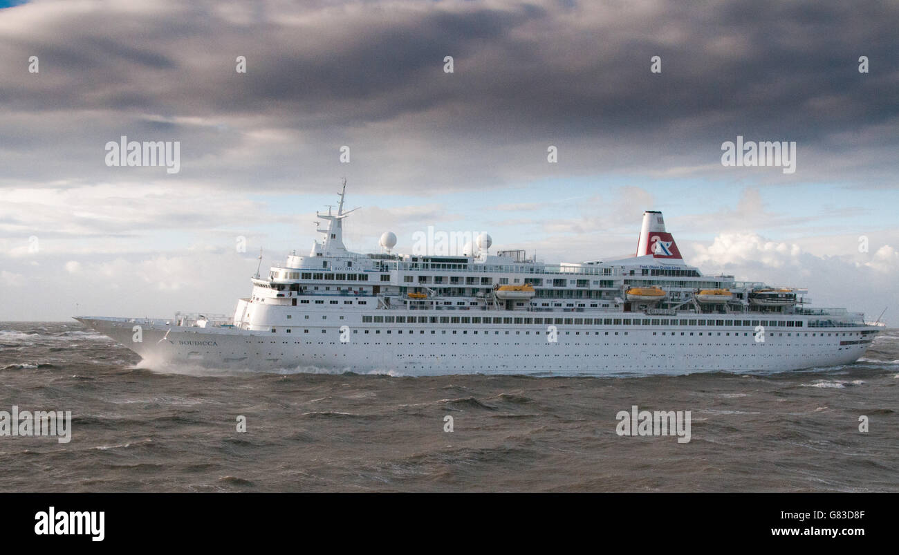 MV Boudicca a cruise ship owned and operated by Fred. Olsen Cruise Lines - Stock Image