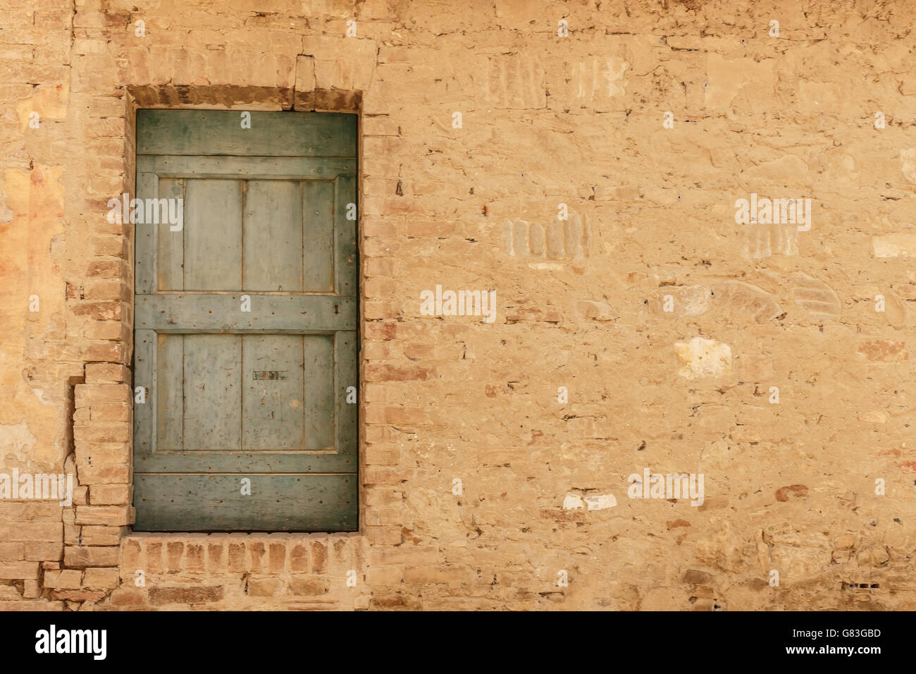 Rustic Wooden Door In Colour Color Random Stonework