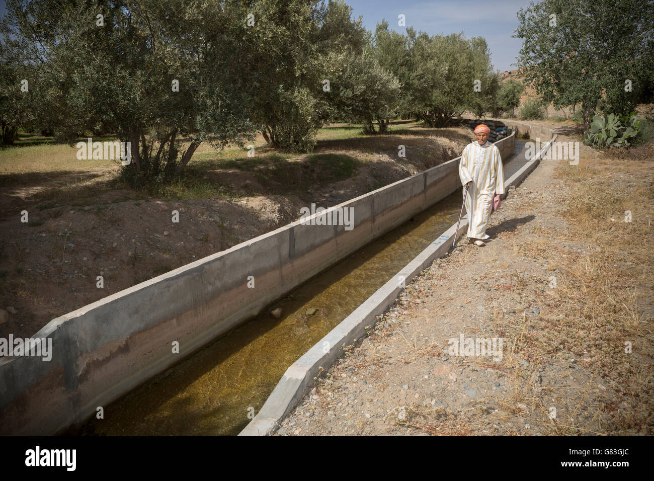 The irrigation canal in Chichaoua Prov. has brought increased productivity to farmers in this dry area of Morocco. - Stock Image