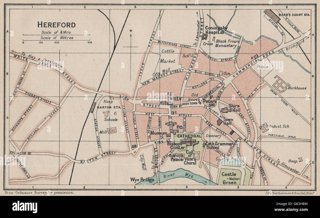 Broomy Hill Baedeker 1910 Map Herefordshire Hereford Antique Town City Plan