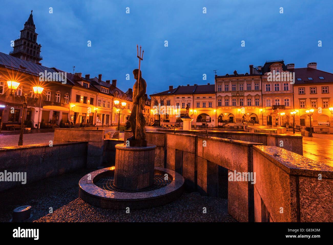 Neptun Fountain on Main Square in Bielsko-Biala - Stock Image