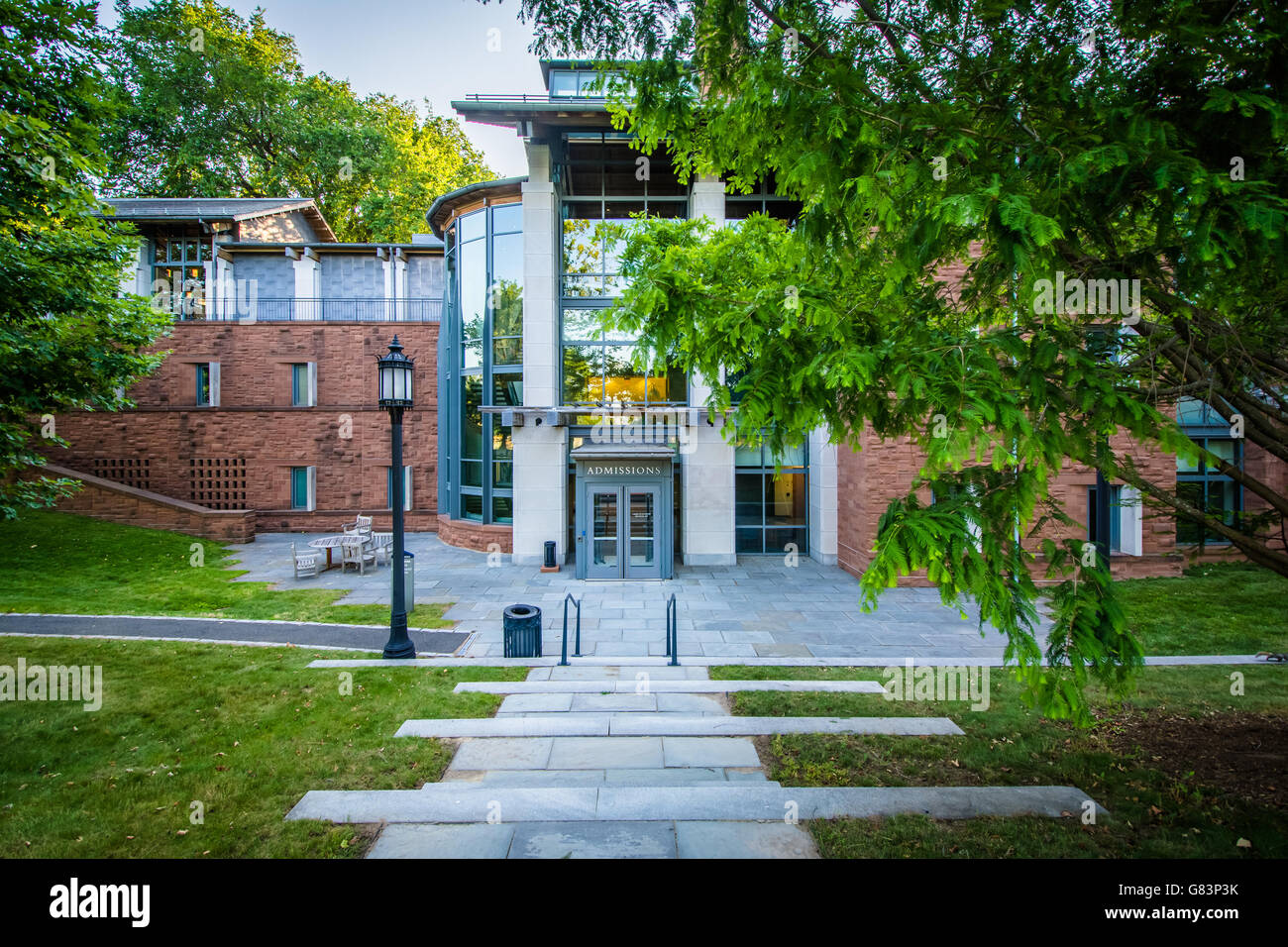 The Admissions Building at Trinity College, in Hartford, Connecticut. - Stock Image