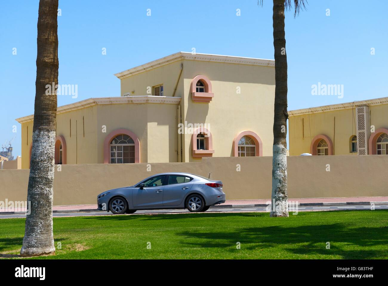 Rapidly developing new city of Lusail, Qatar. One of many private residential homes houses apartments in the West Stock Photo
