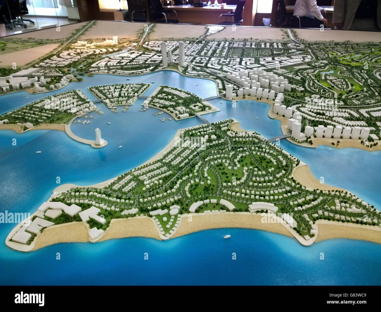 Master plan scale model birds-eye aerial overview of the developing new marina city of Lusail, Qatar. - Stock Image
