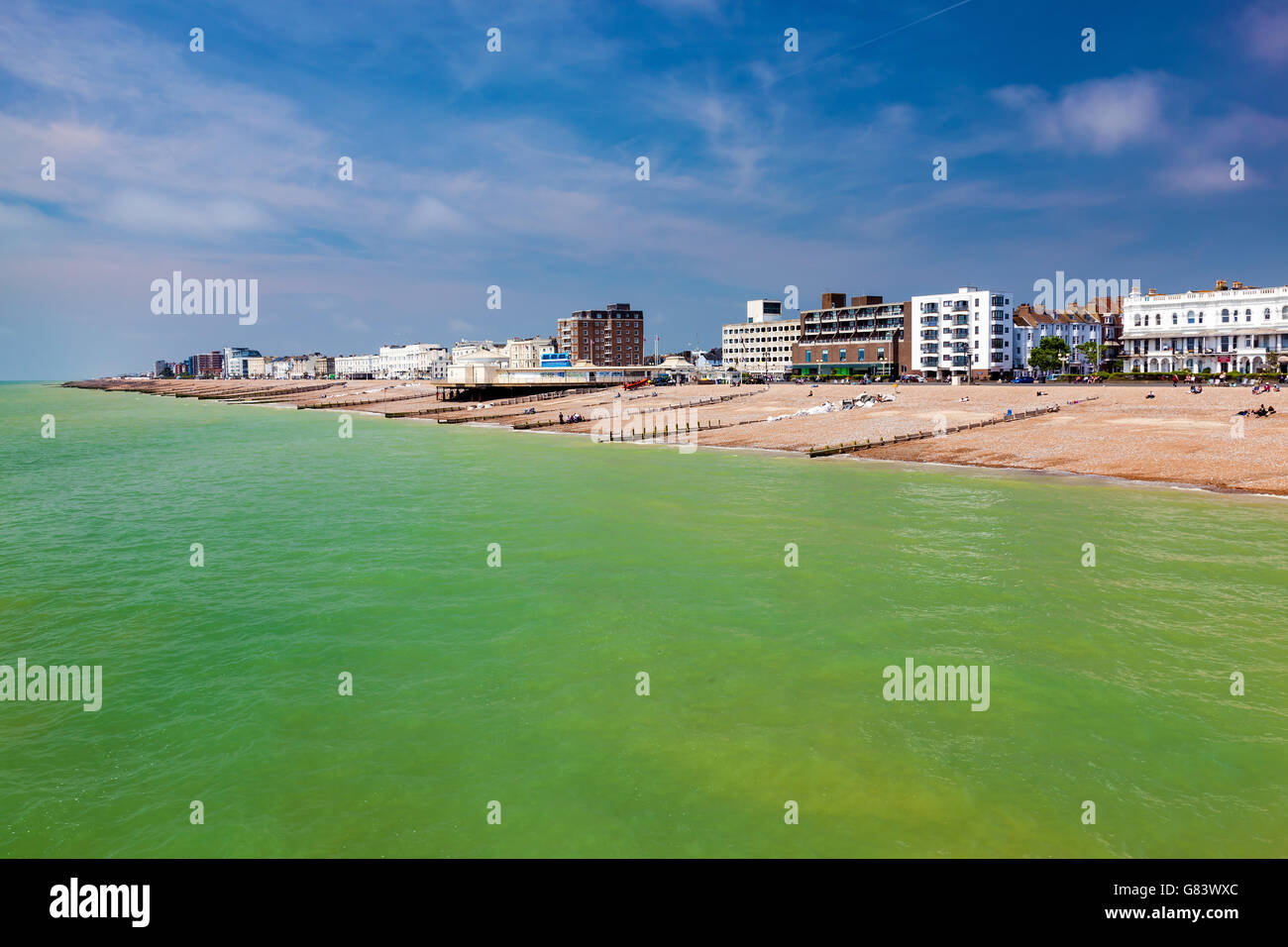 The beach as seen from the Pier at Worthing West Sussex England UK Europe - Stock Image