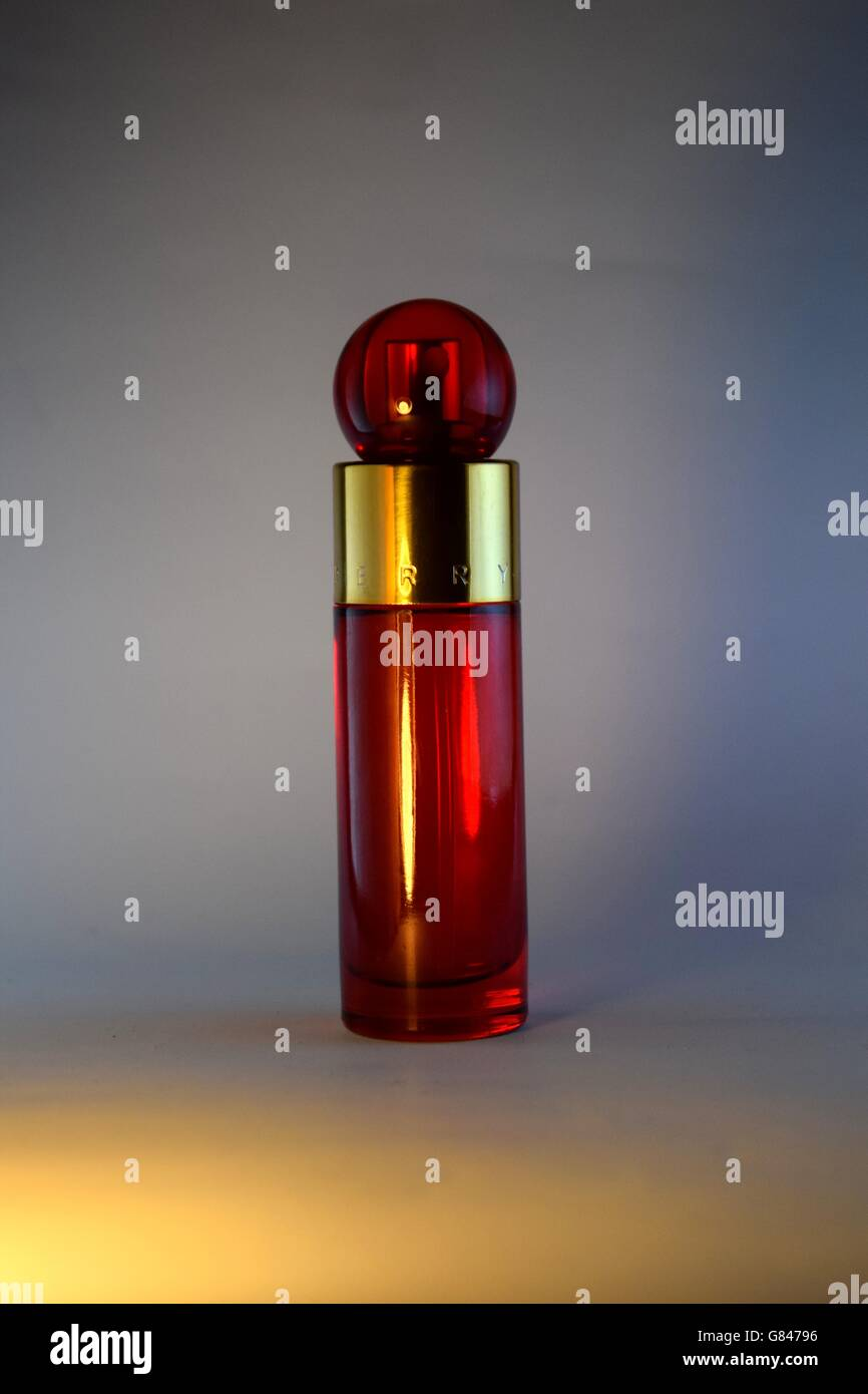 Perfume, Perfume Atomizer, Bottle, Scented, No People, Red, Spray, Antique, Plain Background, White Background, - Stock Image