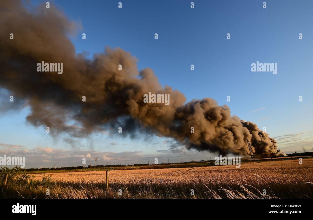 Farm fire Stock Photo