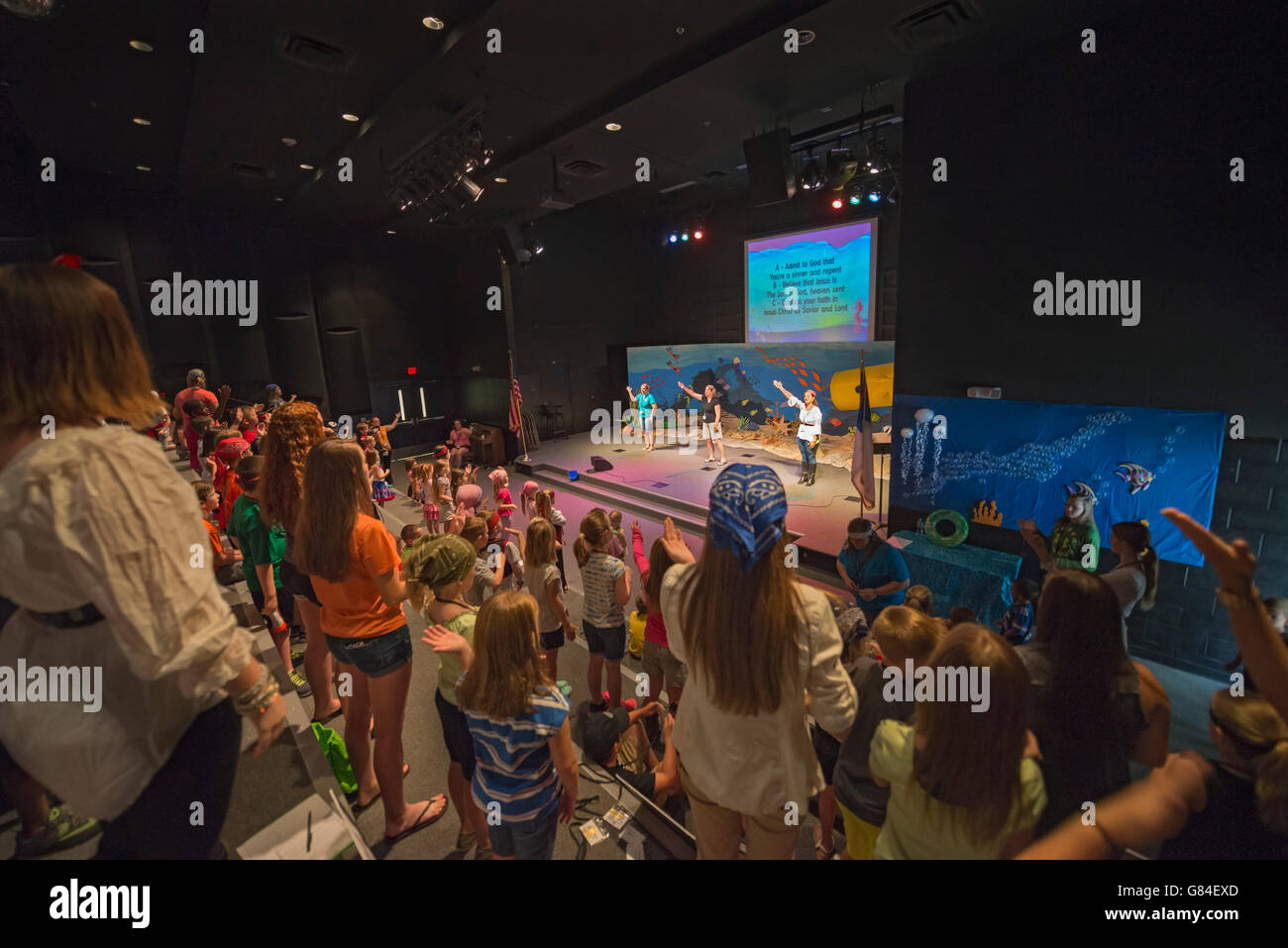 Vacation Bible School at First Baptist Church High Springs, Florida.  Black Box Theater. - Stock Image