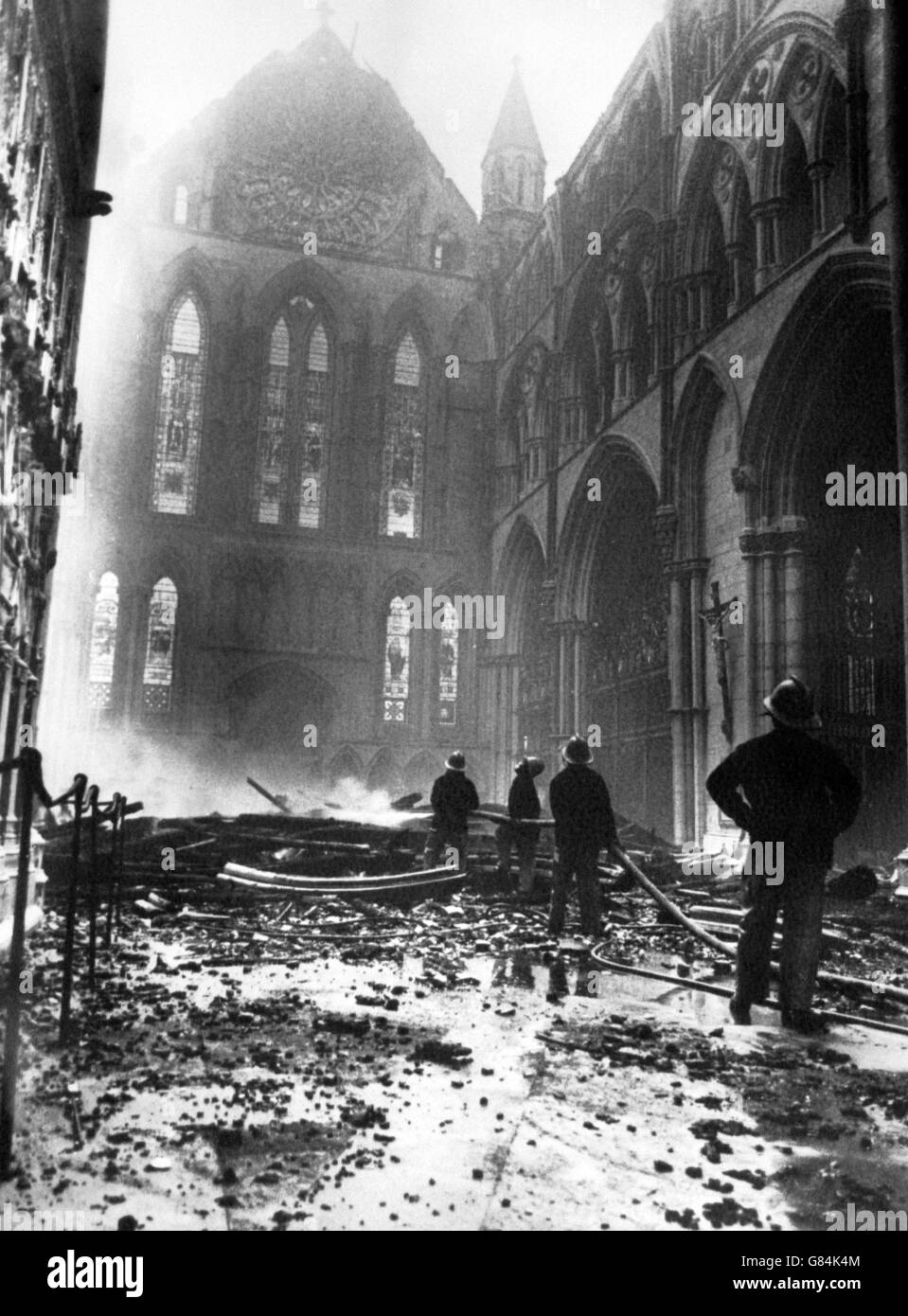 disasters and accidents york minster fire 1984 stock
