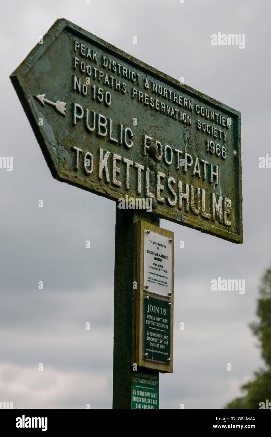 Peak district and northern counties footpaths preservation society sign. No 150 to Kettleshulme. green cast iron - Stock Image