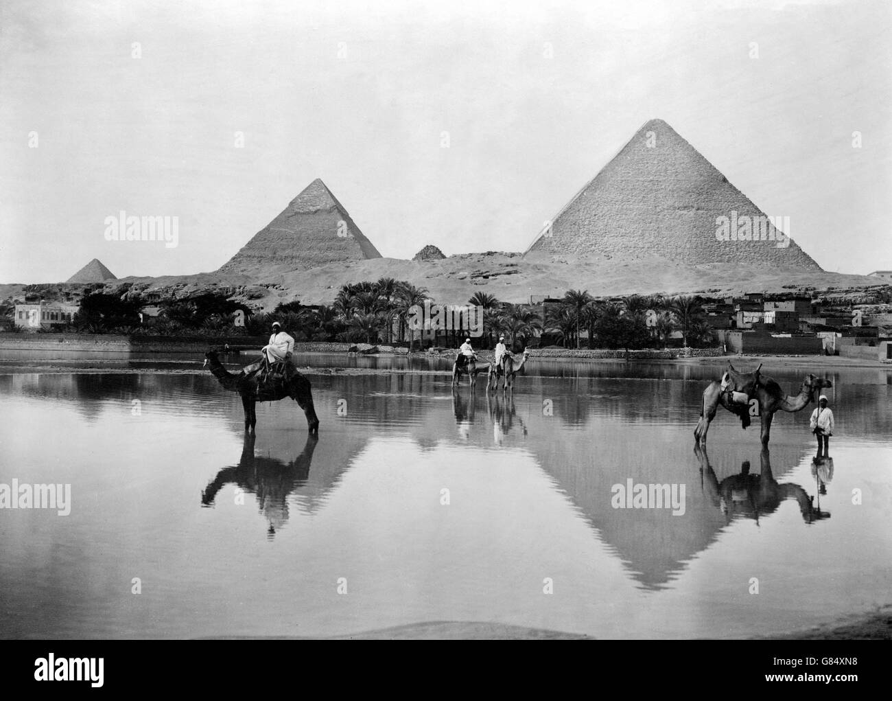 The Pyramids of Giza in the late 19th Century during the flood. Photo taken between 1890 and 1900 by Frank G Carpenter. - Stock Image
