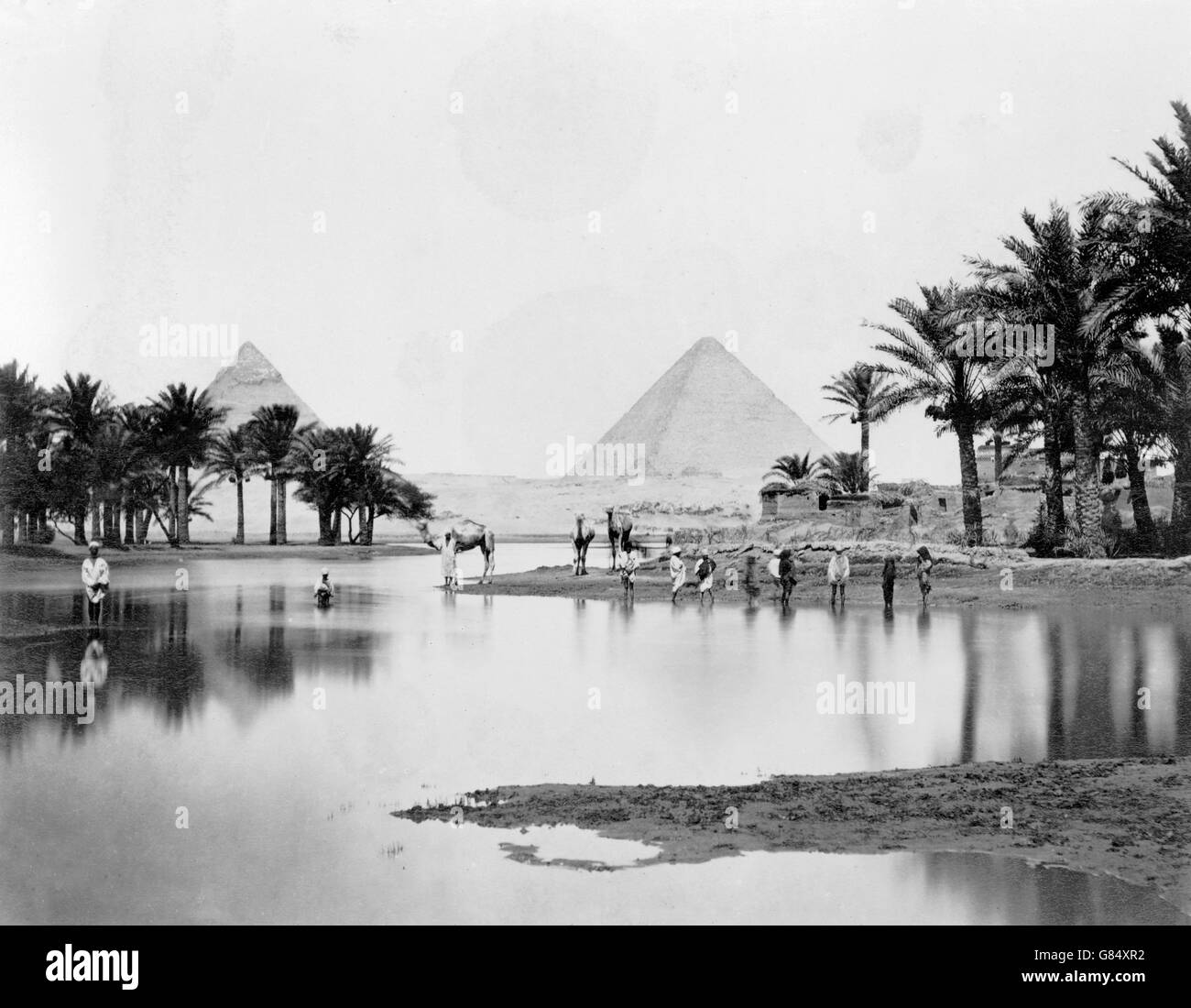 The Pyramids of Giza in the mid to late 19th Century. Photo taken between 1860 and 1890. - Stock Image