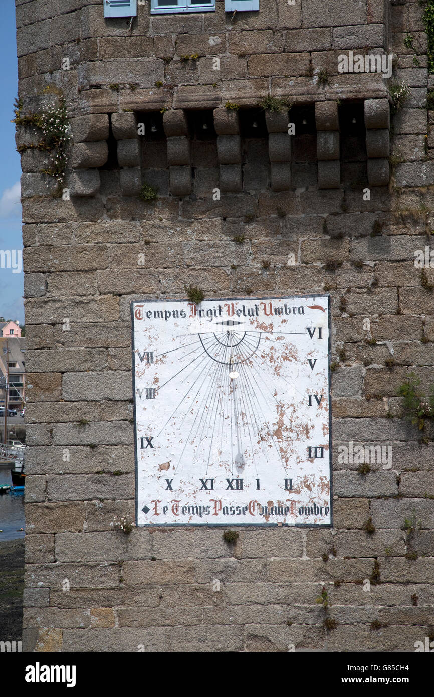 Sundial on Ville Close tower of old fortified town Concarneau Brittany France - Stock Image