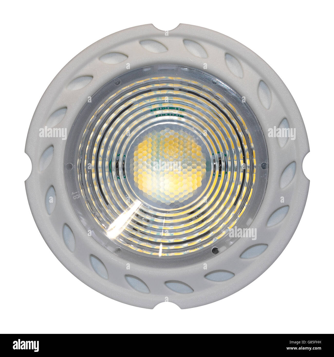 GU10 LED Electric Light Bulb - close up - front - Stock Image