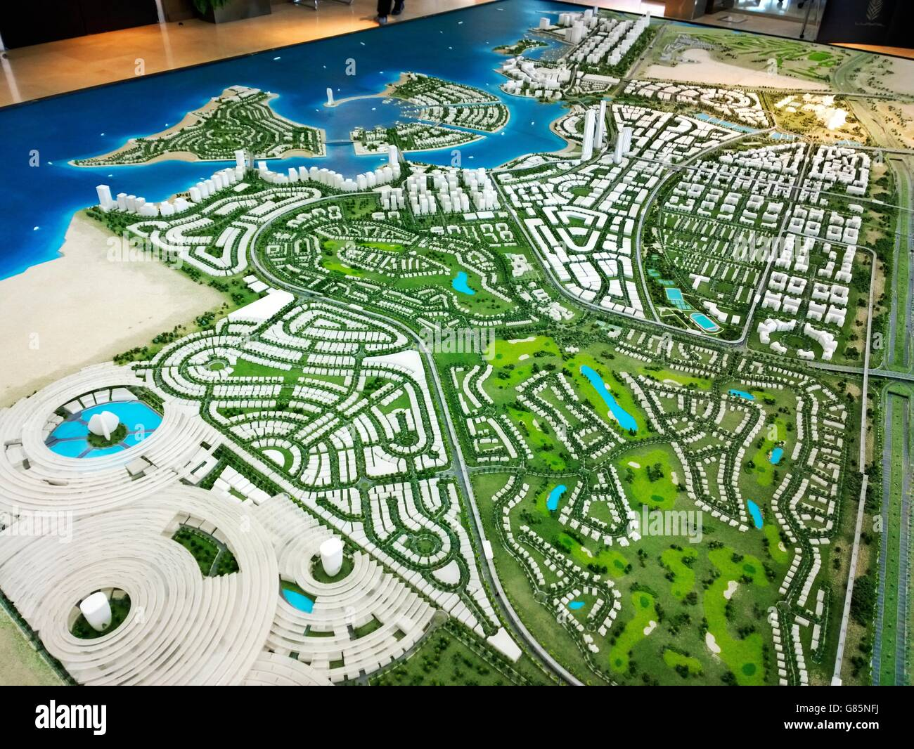 Master plan scale model birds-eye aerial overview of the developing new marina city of Lusail, Qatar - Stock Image