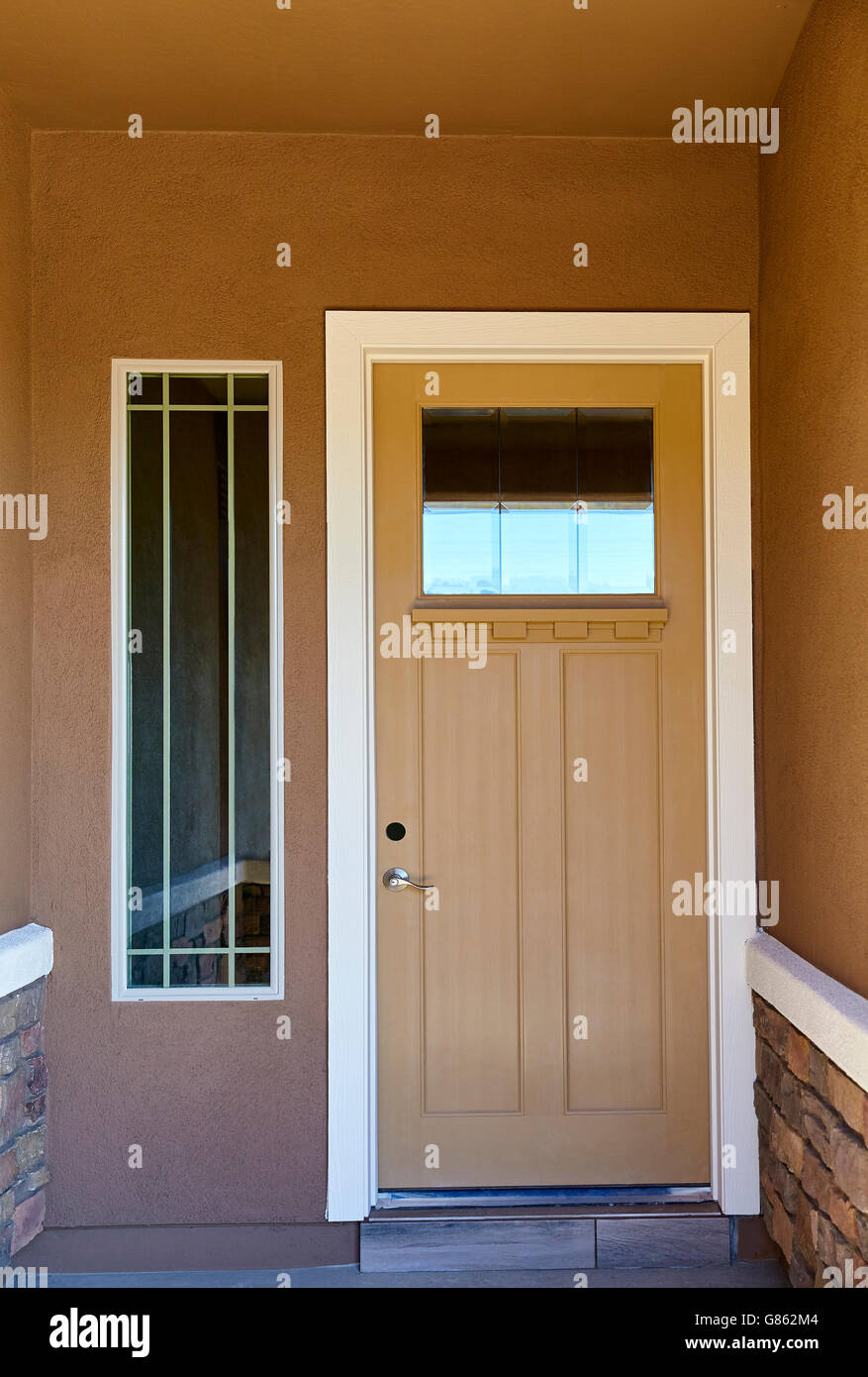 Front Entry Door New Home Building Construction Stock Photo