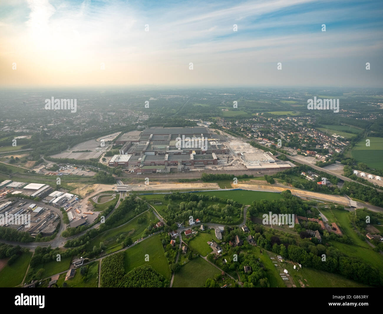 Aerial view, demolition OPEL plant 1, Automotive, Bochum, Ruhr area, North Rhine-Westphalia, Germany, Europe, Aerial - Stock Image