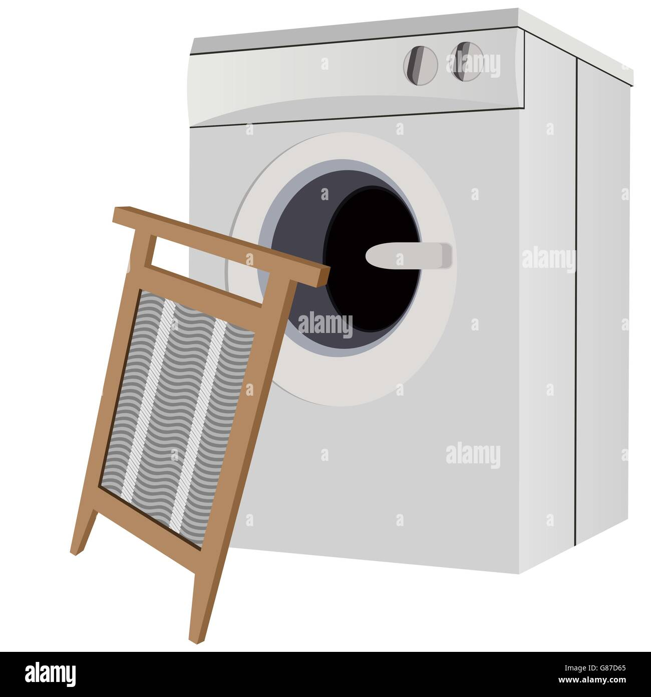Modern appliances and a laundry board. The illustration on a white background. - Stock Image