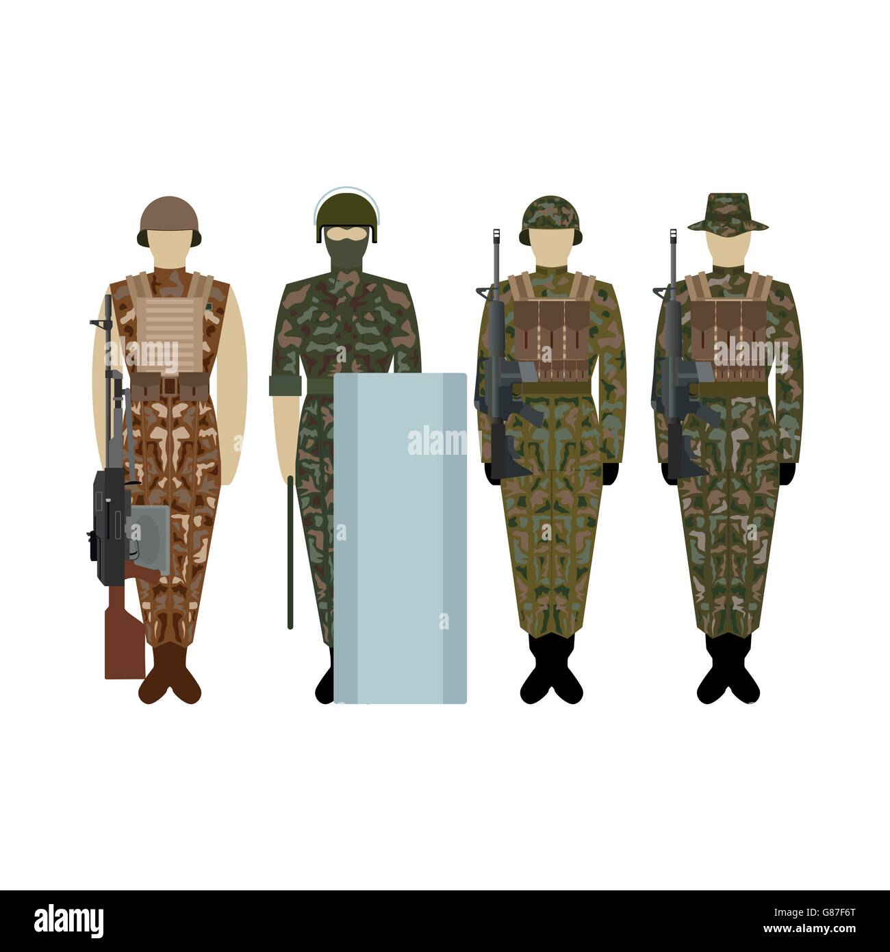 Soldiers in the uniform of the British Army. The illustration on a white background. - Stock Image