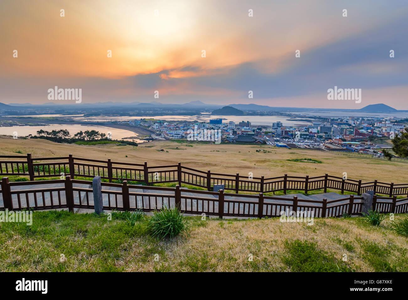 Sunset at Seongsan Ilchulbong, Jeju, South Korea - Stock Image