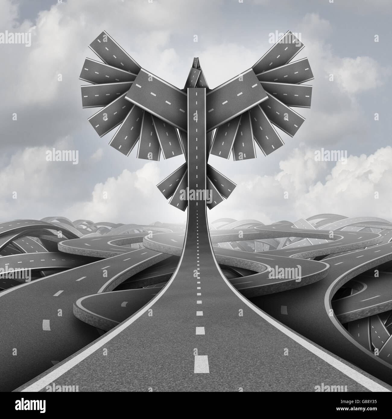 Road freedom concept as a group of highway paths grouped together shaped as flying bird wings as a business or life - Stock Image