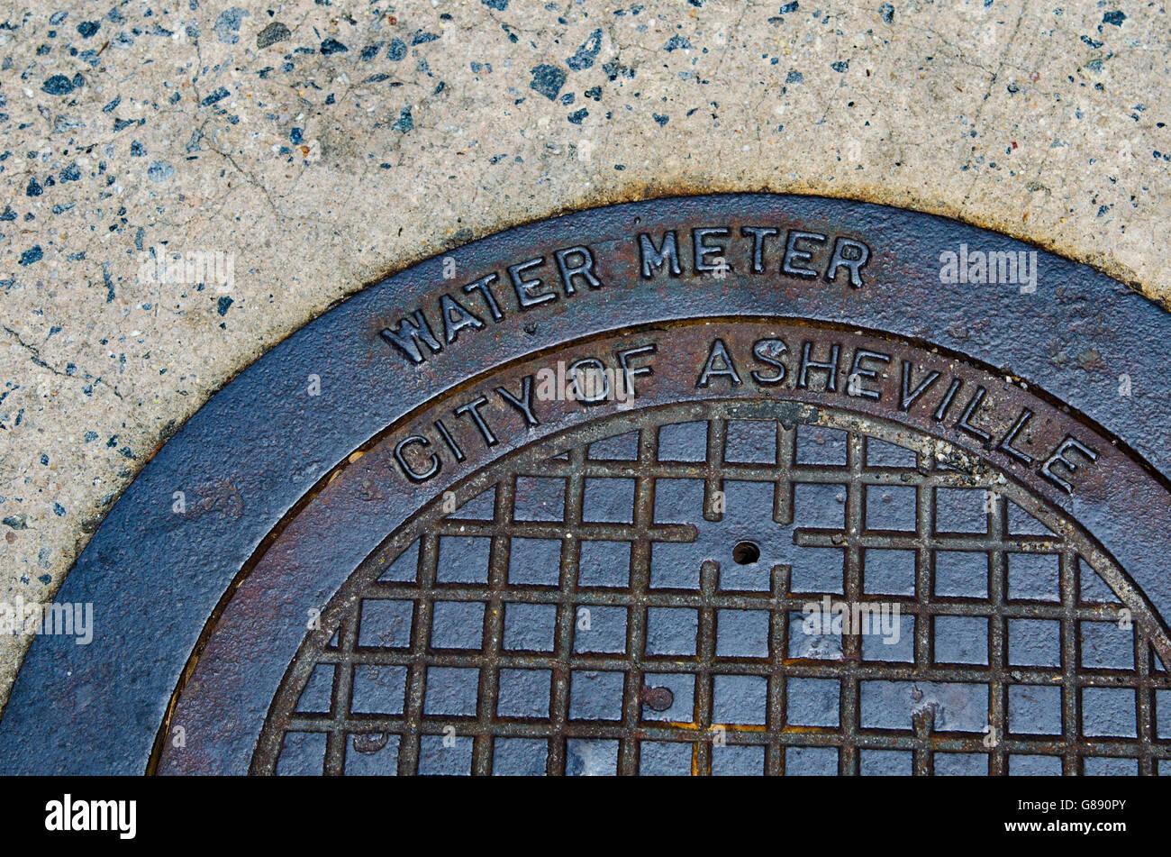 Asheville North Carolina manhole cover - Stock Image