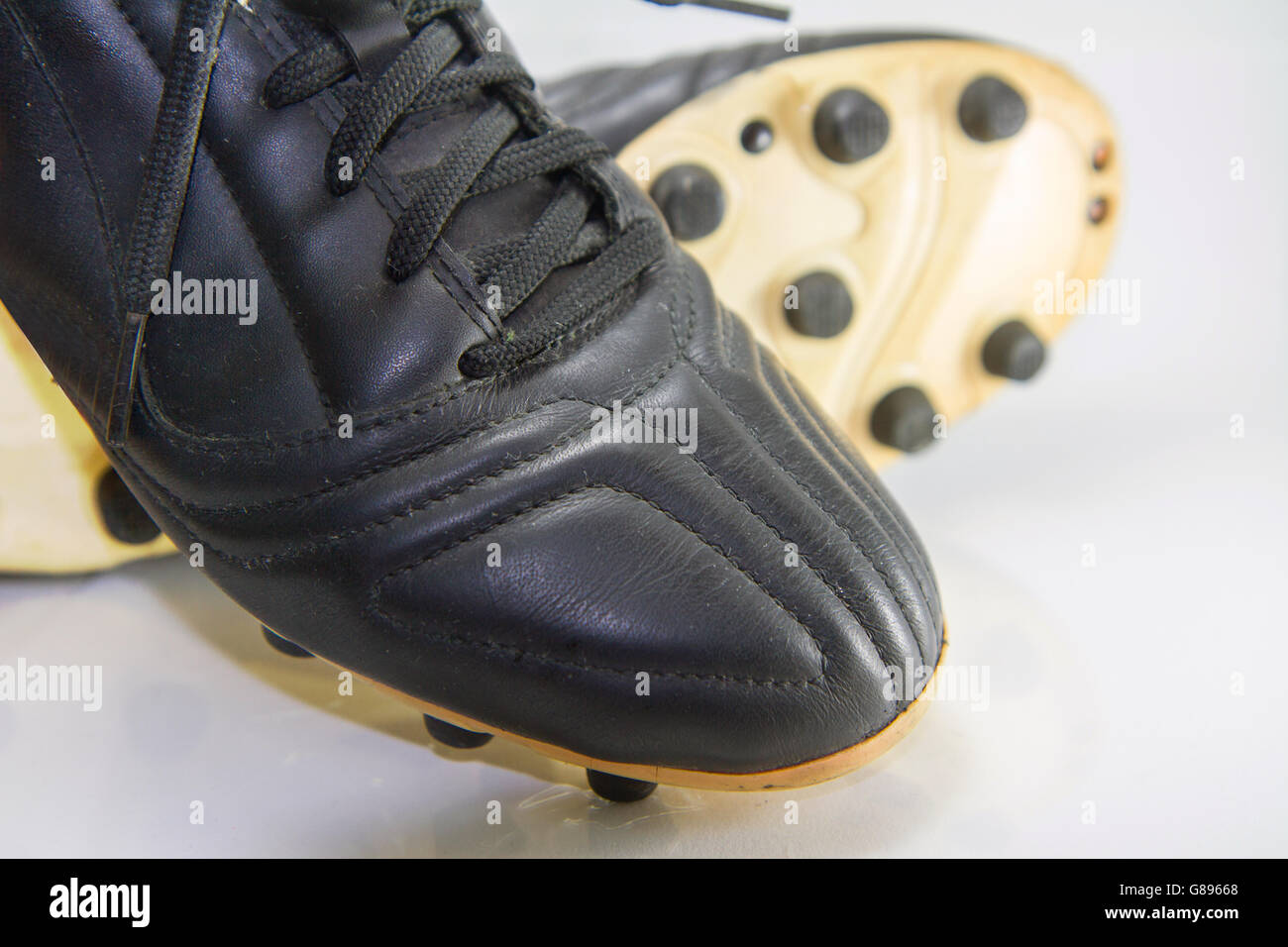 13e9ba0e6 Selective focus to button of soccer shoes / Football shoes - Stock Image