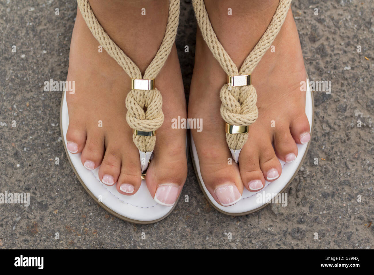 2b3a6329d39fba Girl s Feet In Sandals Stock Photos   Girl s Feet In Sandals Stock ...