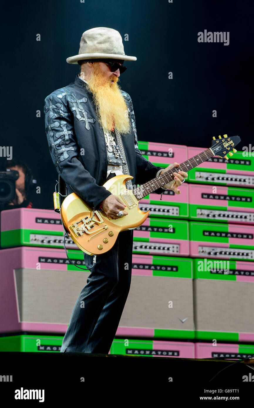 ZZ Top perform at the Glastonbury music festival - Stock Image