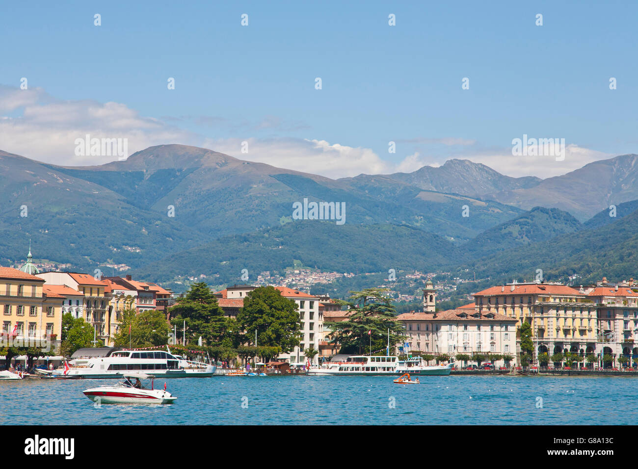 View over Lake Lugano towards Lugano, Lago di Lugano, Ticino, Switzerland, Europe Stock Photo