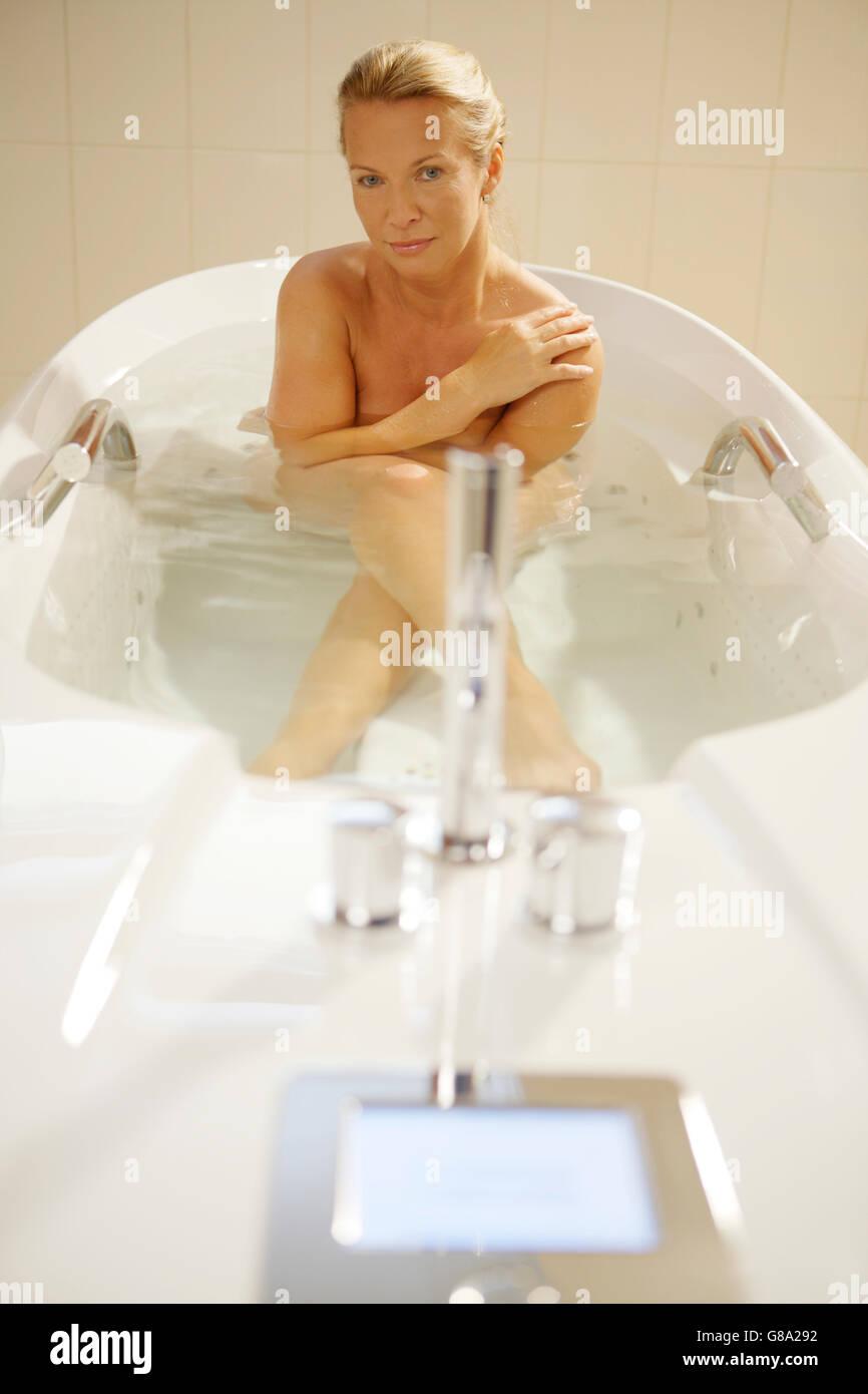 Bubble bath, spa treatment, woman, 40 years Stock Photo: 108400798 ...