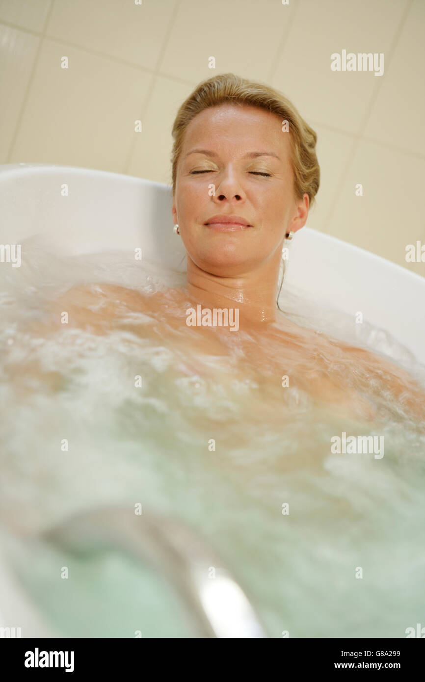 Bubble bath, spa treatment, woman, 40 years Stock Photo: 108400805 ...