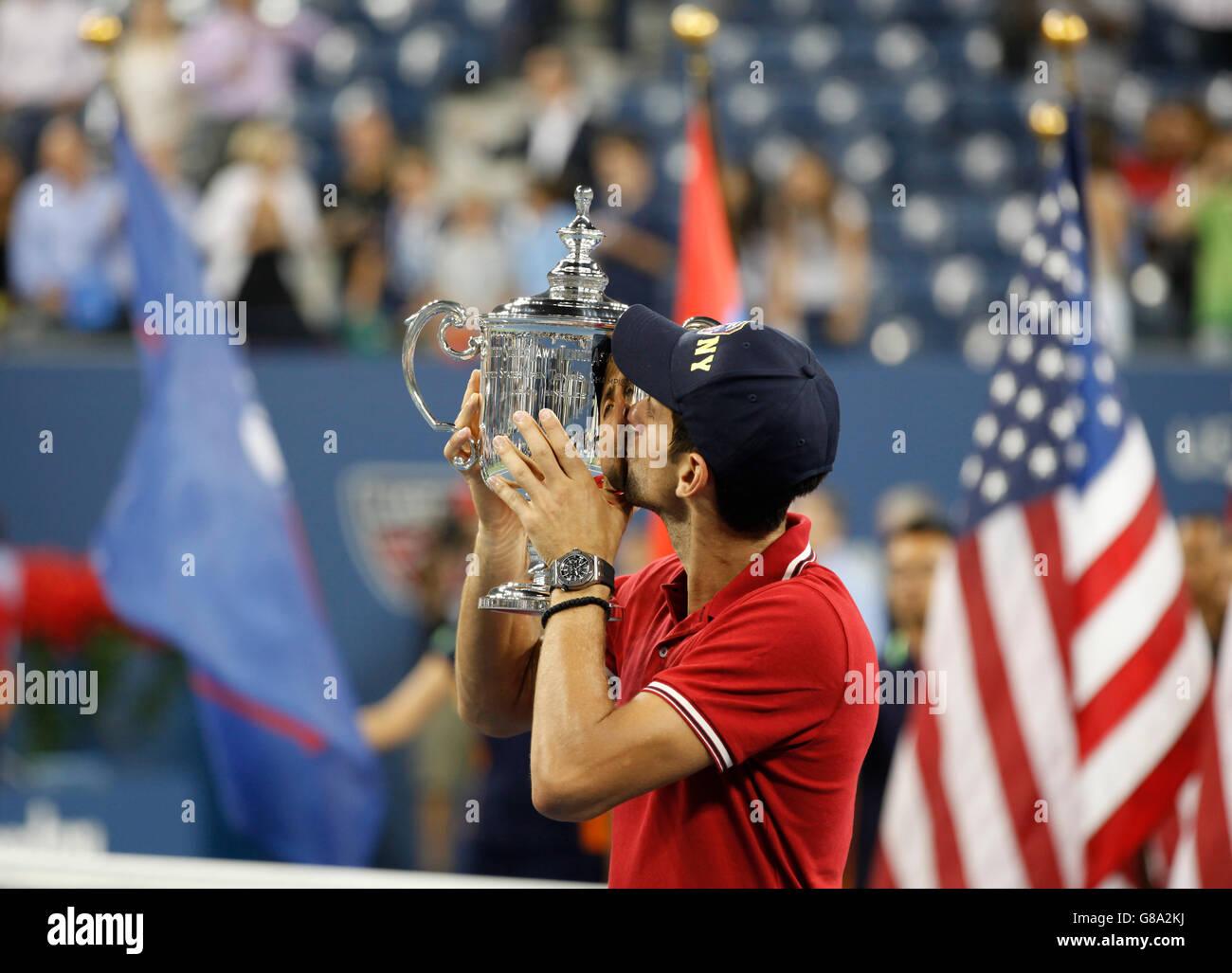 Awards ceremony, Novak Djokovic, SRB, winner of the men's final kissing his trophy, ITF Grand Slam tennis tournament, - Stock Image
