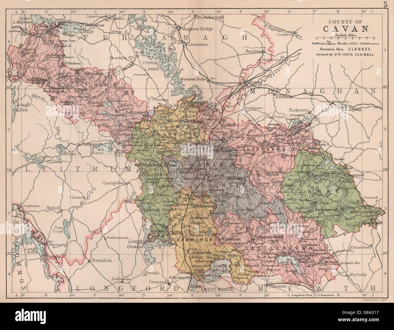 Map Of Ireland Cavan.County Cavan Antique County Map Ulster Ireland Bartholomew 1882