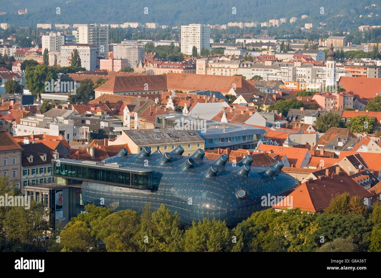 Overlooking Graz from Schlossberg hill, with Grazer Kunsthaus art museum in front, Graz, Styria, Austria, Europe Stock Photo