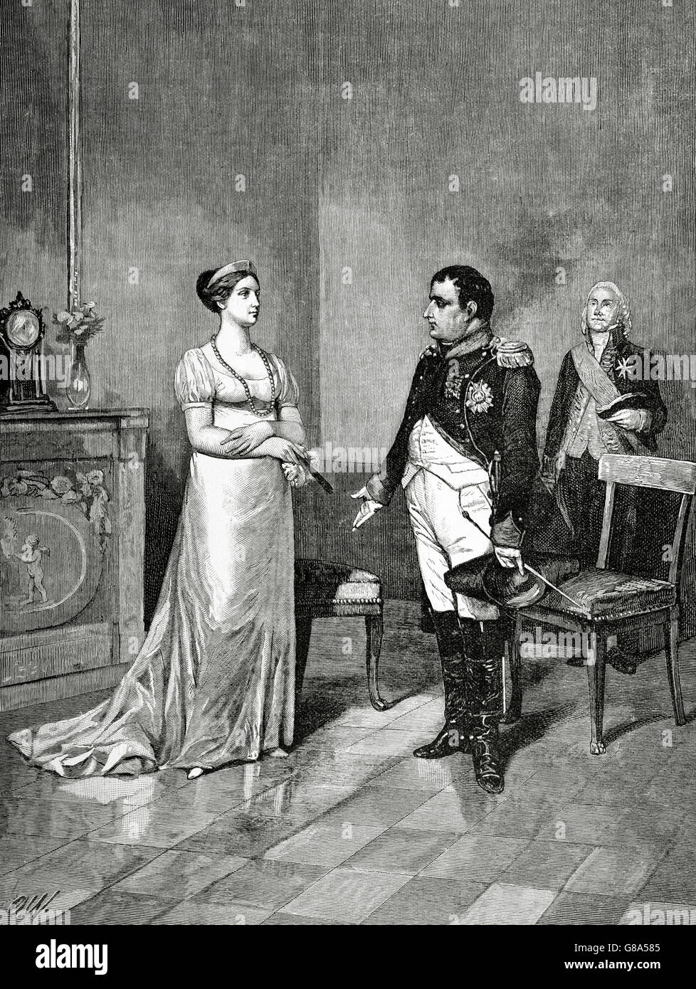 Queen Marie Louise, Duchess of Parma (1791-1847) and Napoleon I Bonaparte (1769-1821) at Tilsit. Engraving by A. - Stock Image