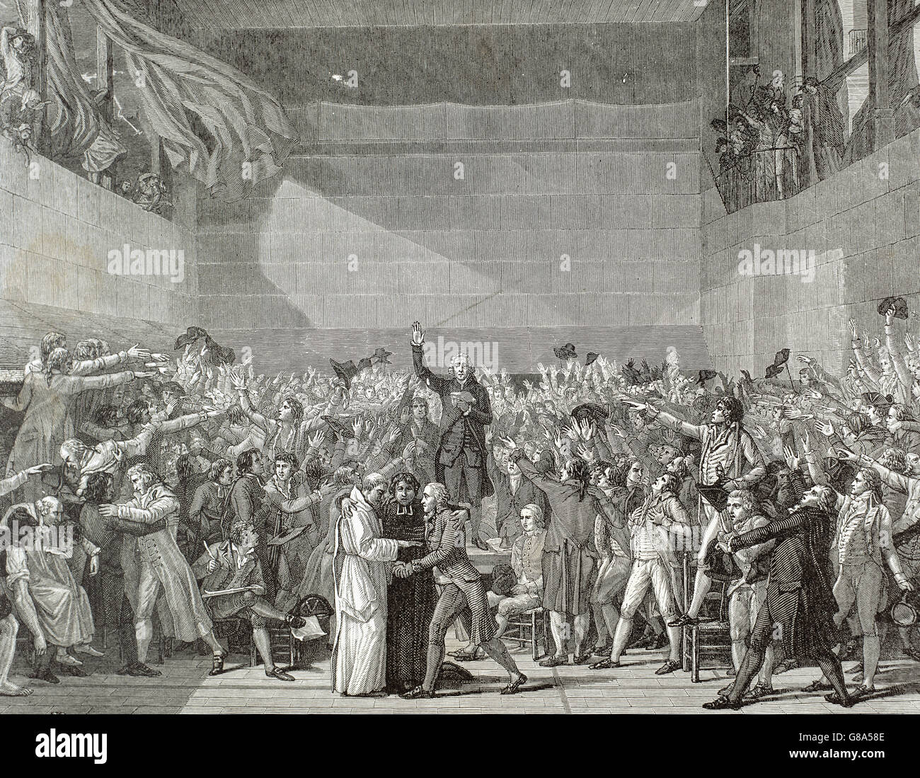 The Tennis Court Oath (June 20, 1789). Engraving, 19th century.