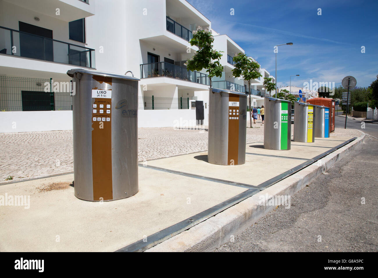 Roadside Recycling Bins in Alvor Portugal - Stock Image