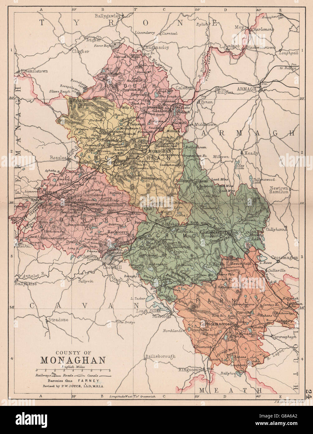 County Monaghan Antique County Map Ulster Ireland Bartholomew
