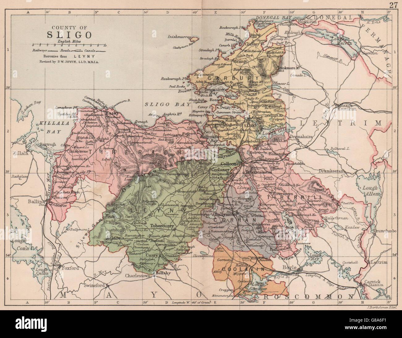 Antique county map COUNTY LEITRIM Connaught BARTHOLOMEW 1882 Ireland