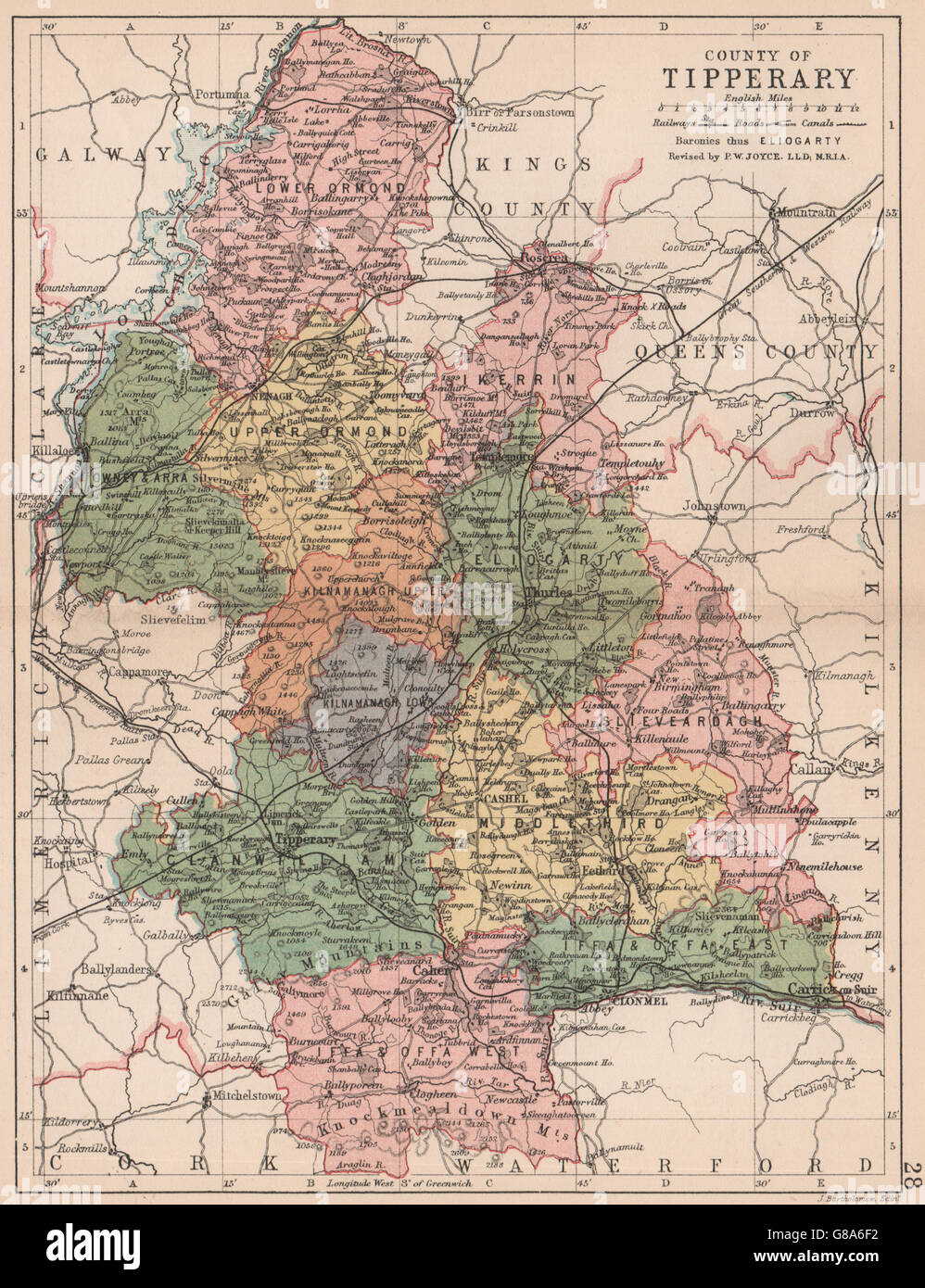 County Tipperary Ireland Map.County Tipperary Antique County Map Munster Ireland Bartholomew